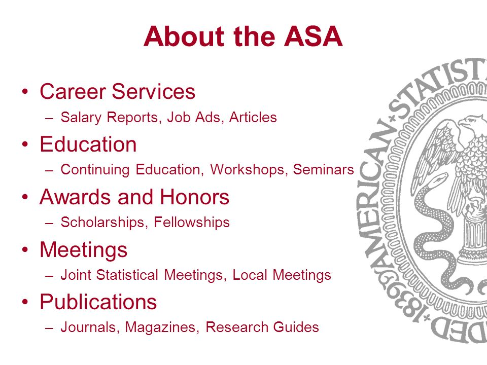 About the ASA Career Services Education Awards and Honors Meetings