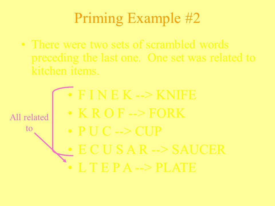 Priming Example #2 F I N E K --> KNIFE K R O F --> FORK