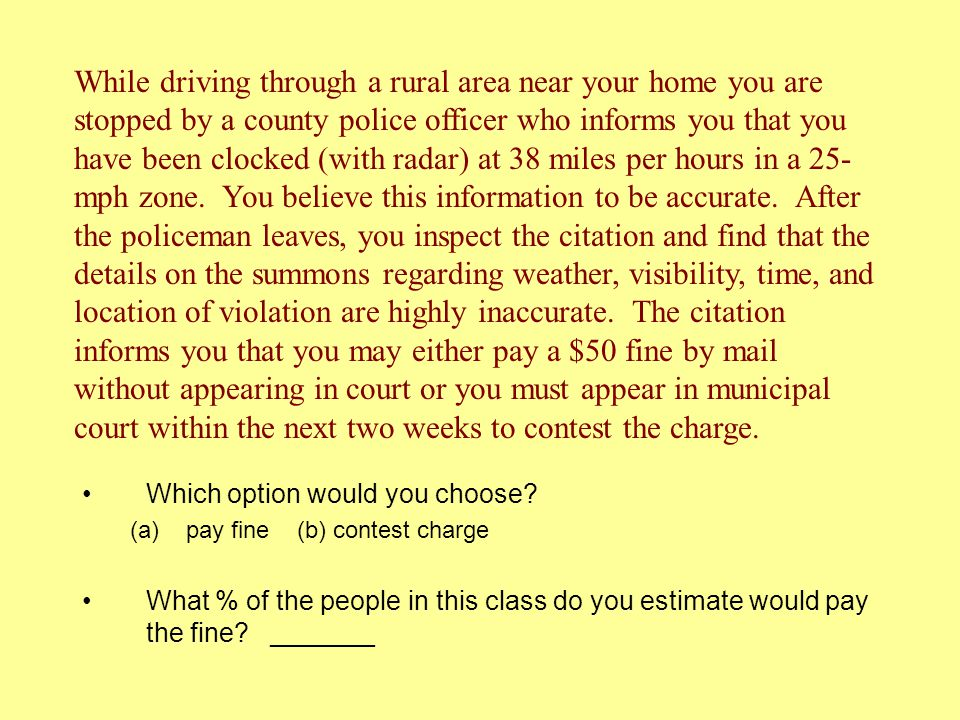 While driving through a rural area near your home you are stopped by a county police officer who informs you that you have been clocked (with radar) at 38 miles per hours in a 25-mph zone. You believe this information to be accurate. After the policeman leaves, you inspect the citation and find that the details on the summons regarding weather, visibility, time, and location of violation are highly inaccurate. The citation informs you that you may either pay a $50 fine by mail without appearing in court or you must appear in municipal court within the next two weeks to contest the charge.