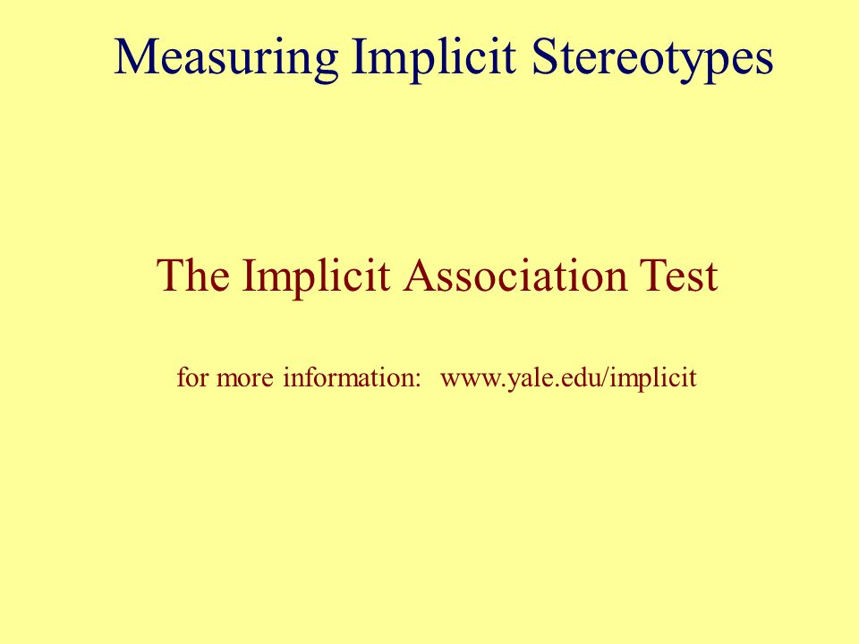 Measuring Implicit Stereotypes