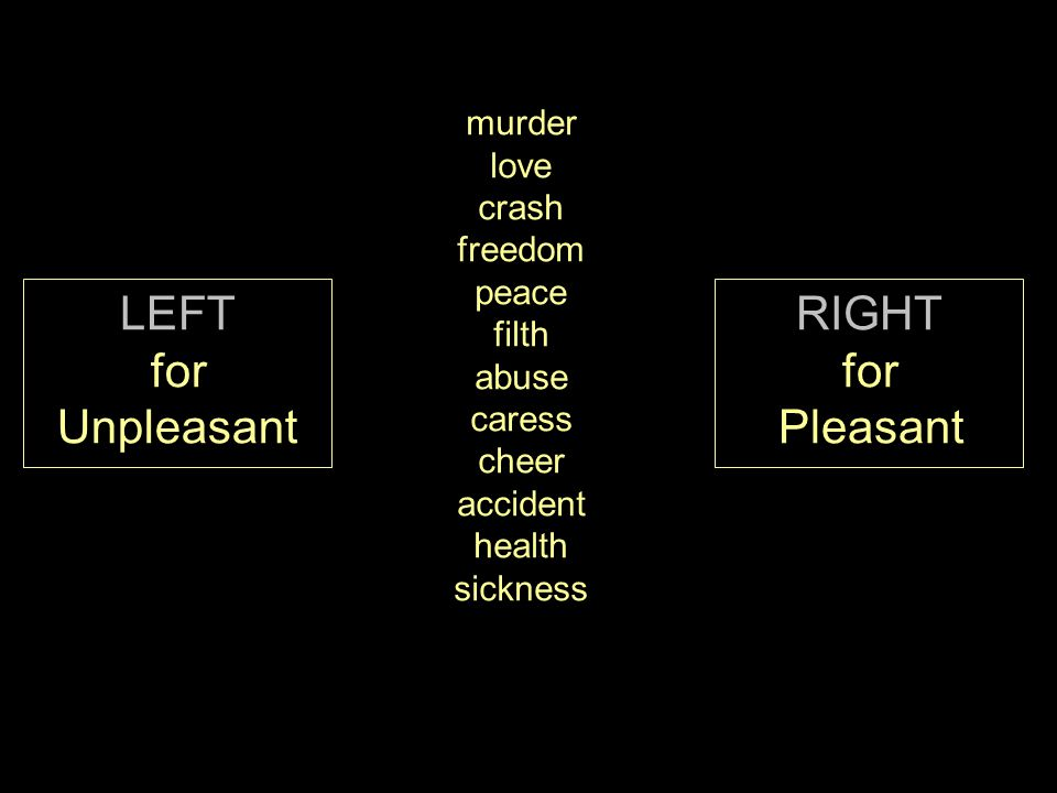 LEFT for Unpleasant RIGHT for Pleasant murder love crash freedom peace