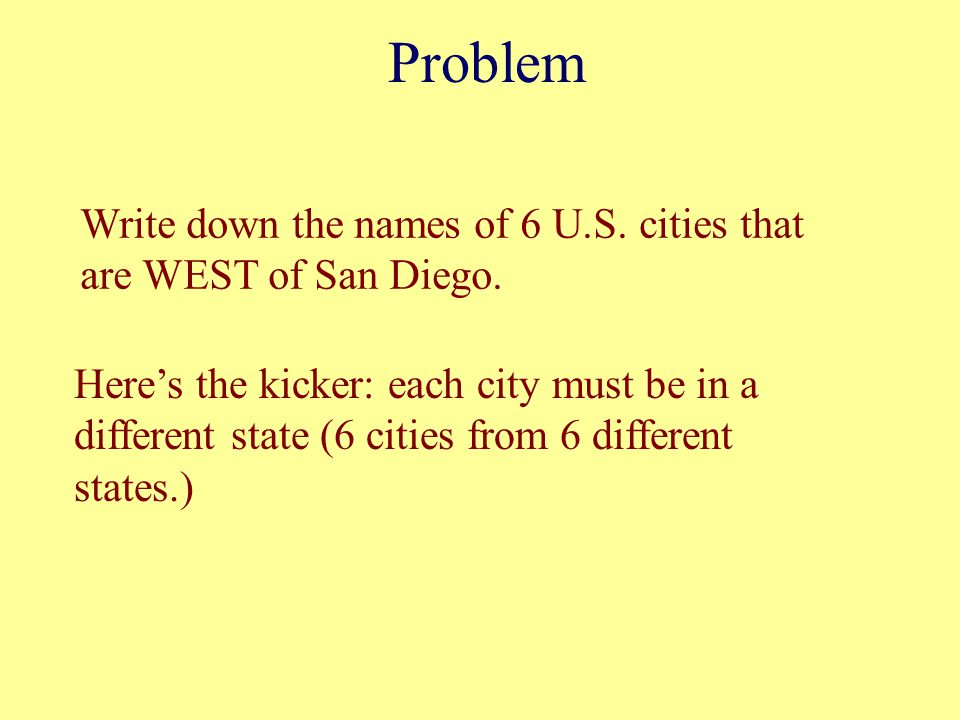 Problem Write down the names of 6 U.S. cities that are WEST of San Diego.