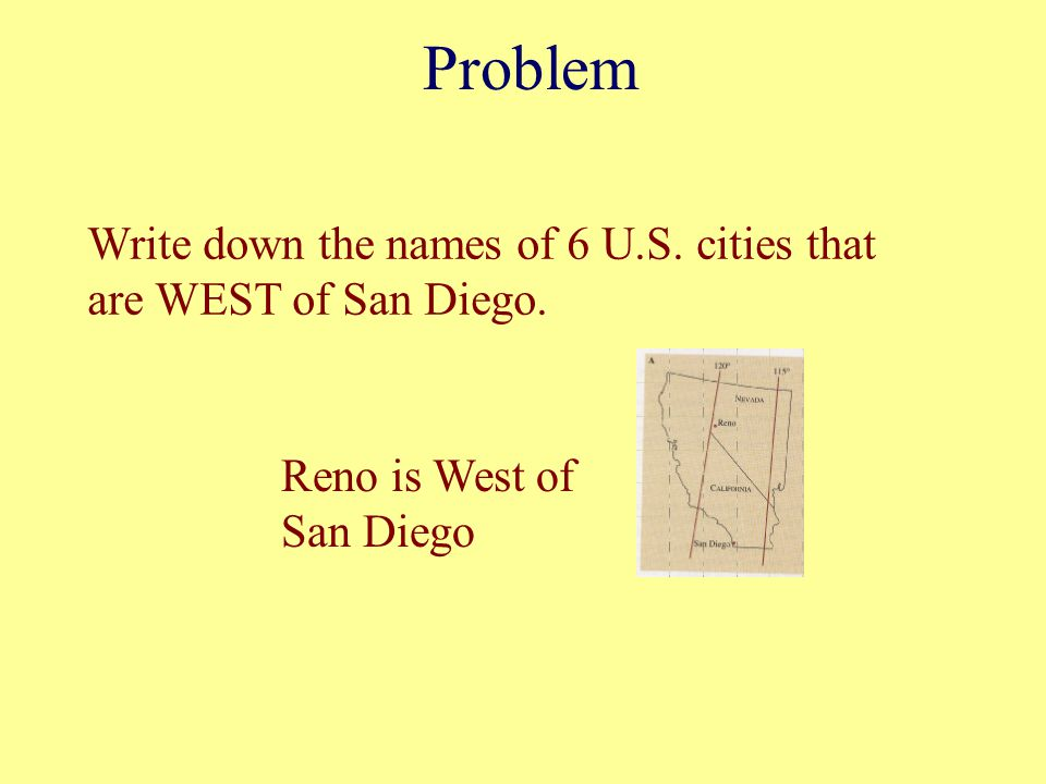 Problem Write down the names of 6 U.S. cities that are WEST of San Diego. Reno is West of San Diego