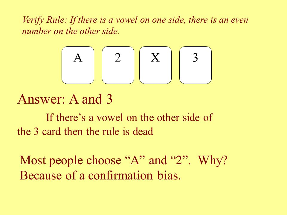 Verify Rule: If there is a vowel on one side, there is an even number on the other side.