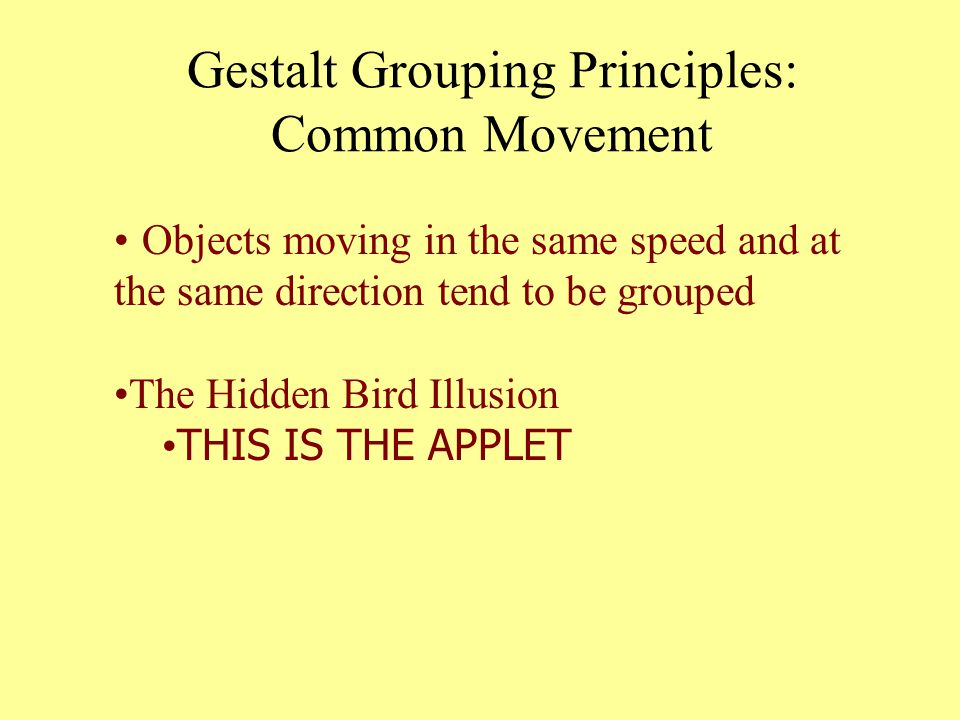 Gestalt Grouping Principles: Common Movement