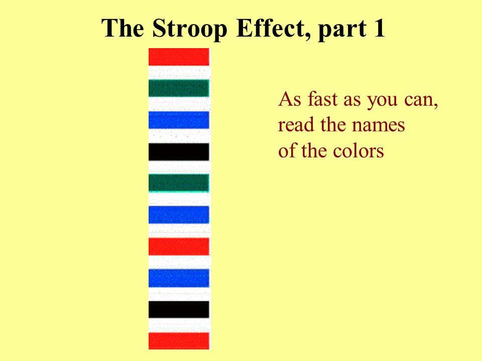 The Stroop Effect, part 1 As fast as you can, read the names