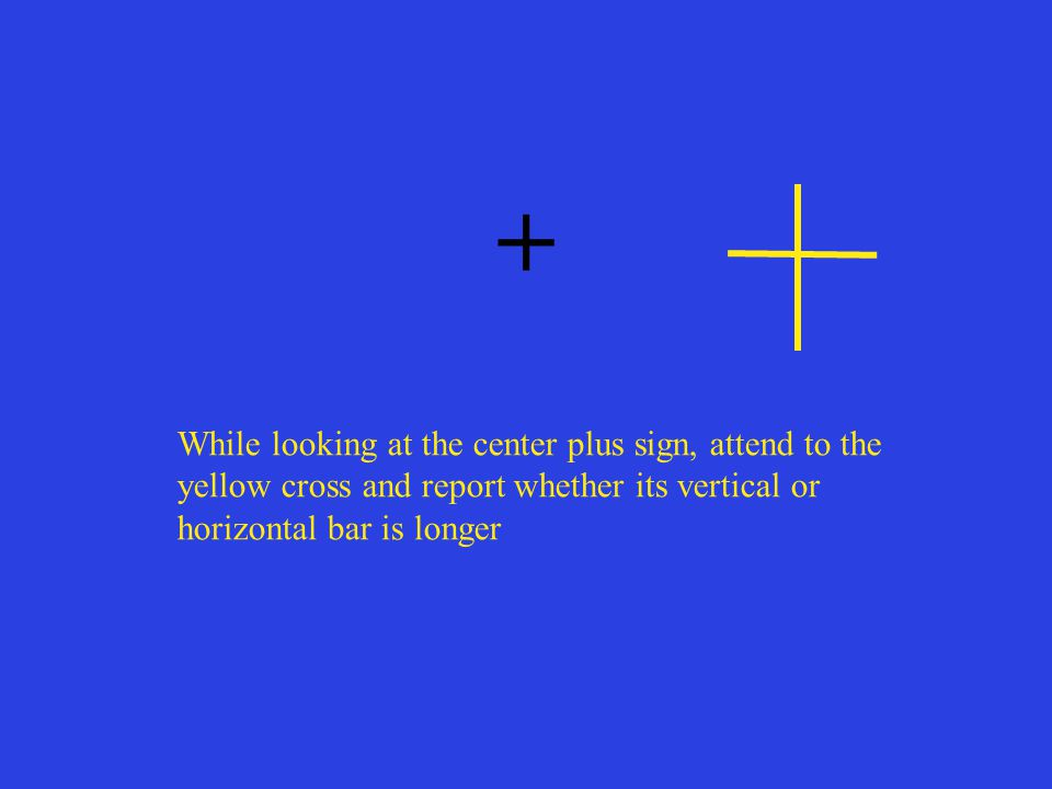 + While looking at the center plus sign, attend to the yellow cross and report whether its vertical or horizontal bar is longer.