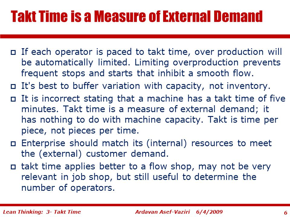 Takt Time is a Measure of External Demand