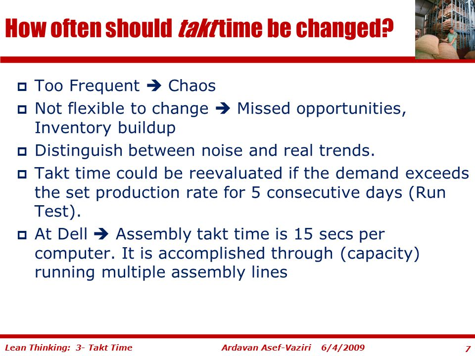 How often should takt time be changed