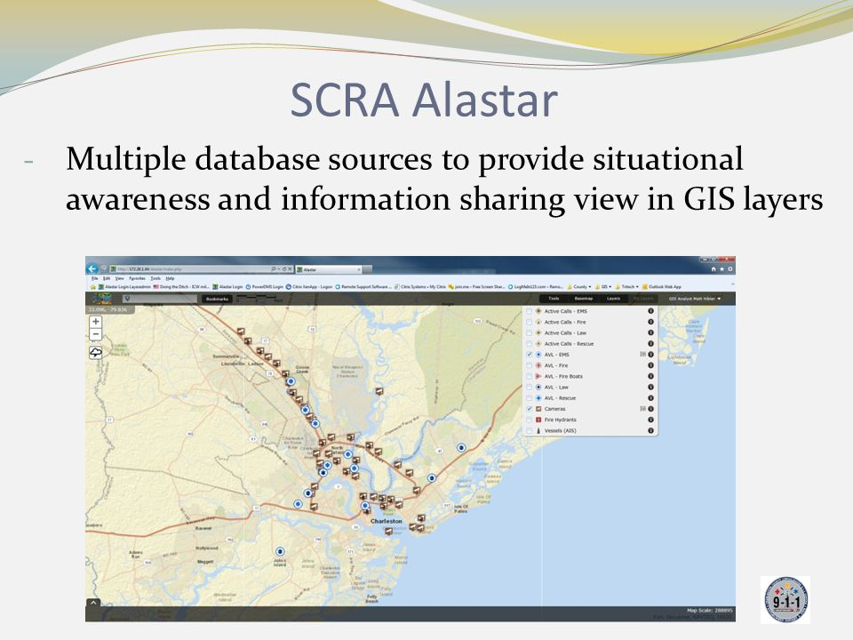 SCRA Alastar Multiple database sources to provide situational awareness and information sharing view in GIS layers.