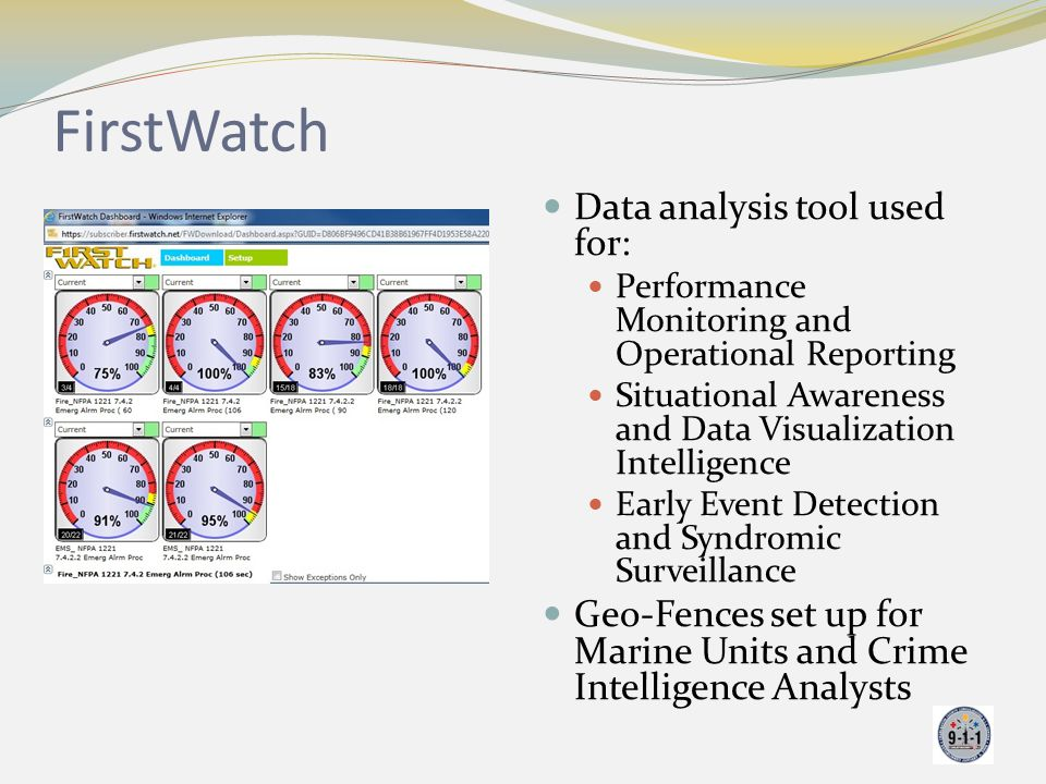 FirstWatch Data analysis tool used for: