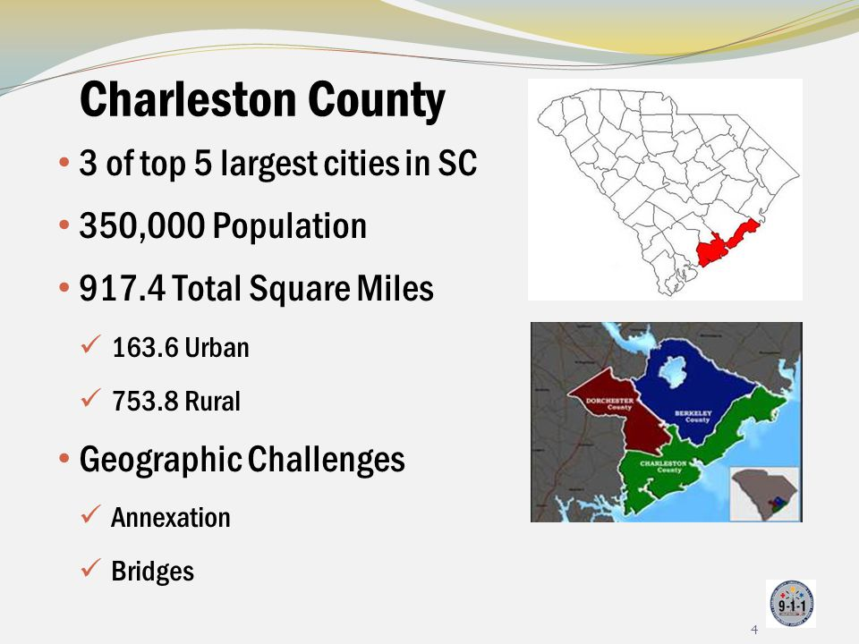 Charleston County 3 of top 5 largest cities in SC 350,000 Population