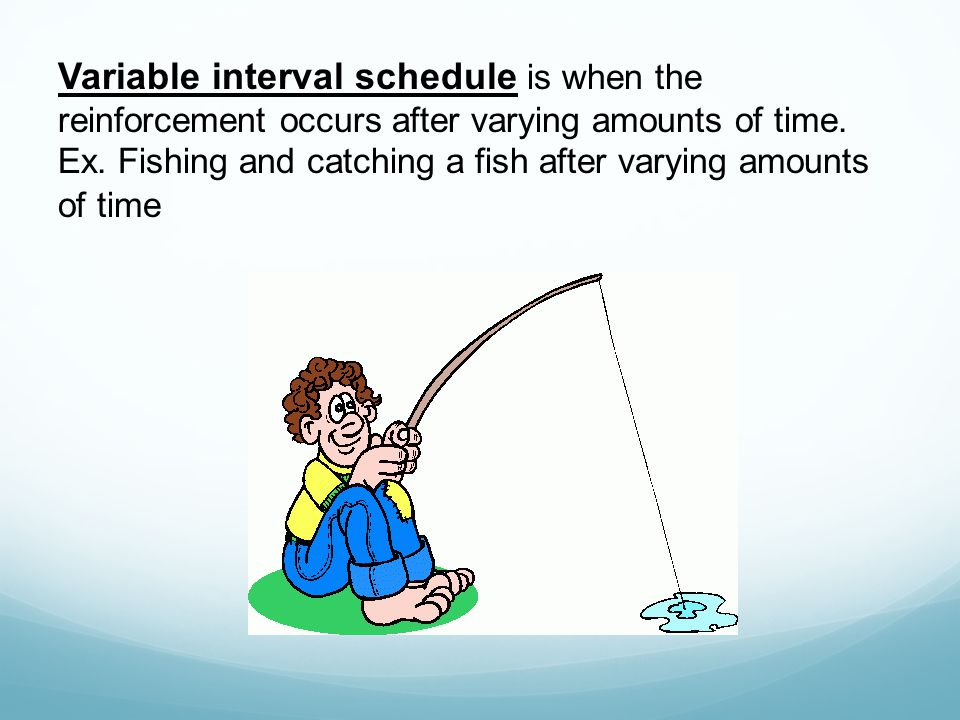 Variable interval schedule is when the reinforcement occurs after varying amounts of time.