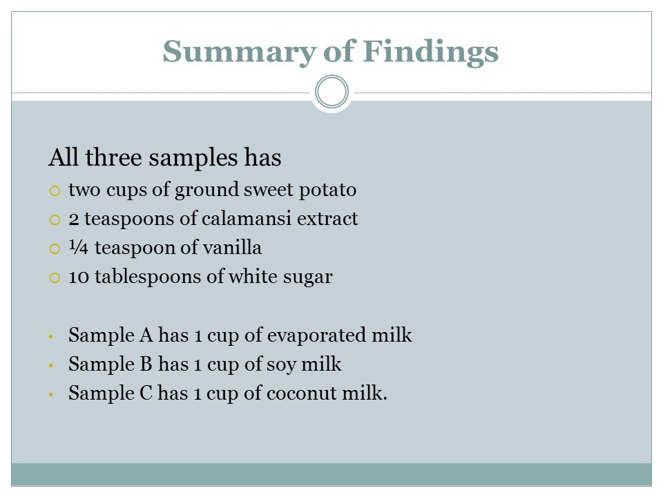 Summary of Findings All three samples has