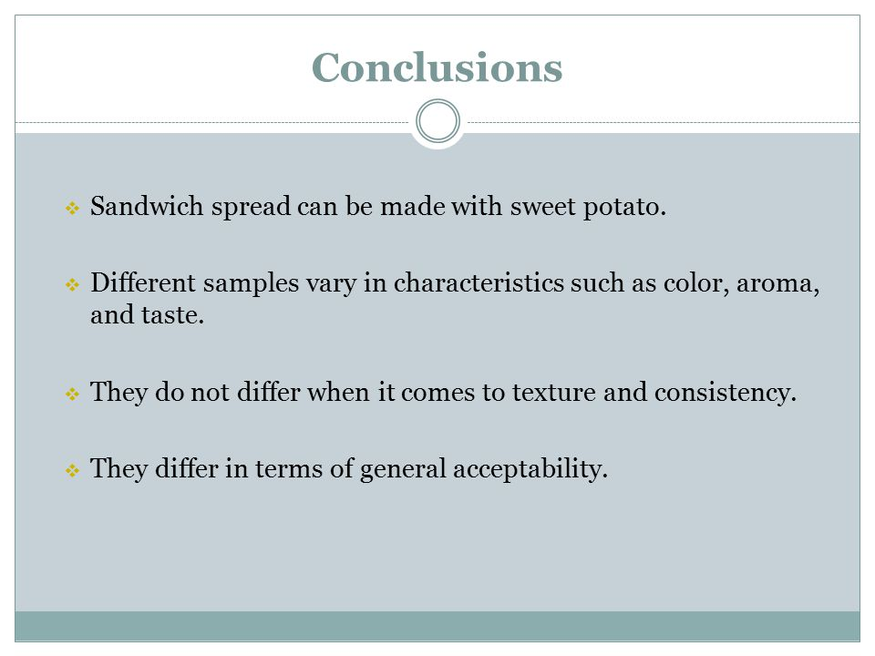 Conclusions Sandwich spread can be made with sweet potato.