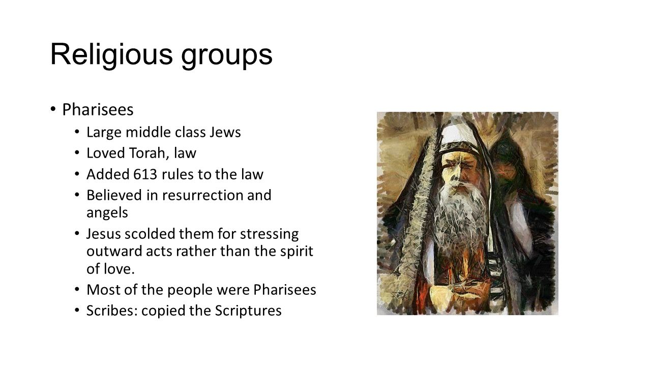 Religious groups Pharisees Large middle class Jews Loved Torah, law
