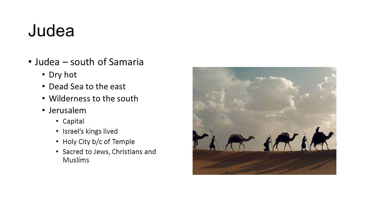Judea Judea – south of Samaria Dry hot Dead Sea to the east
