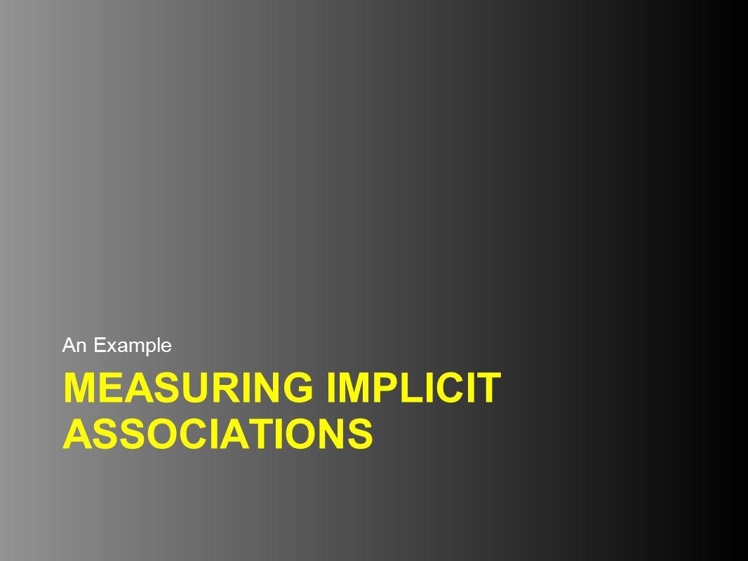 MEASURING IMPLICIT ASSOCIATIONS