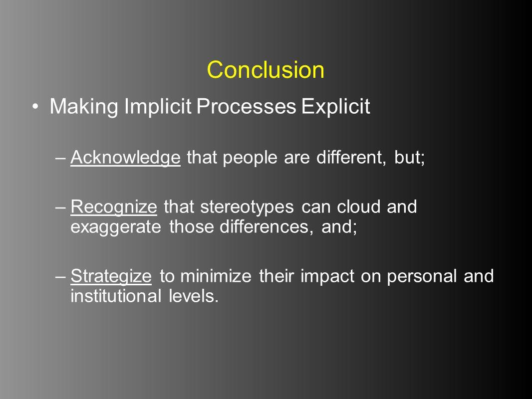 Conclusion Making Implicit Processes Explicit