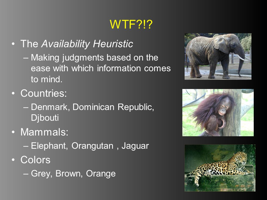 WTF ! The Availability Heuristic Countries: Mammals: Colors