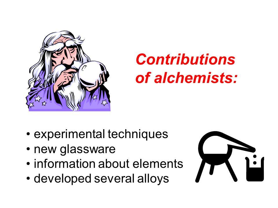 Contributions of alchemists: experimental techniques new glassware