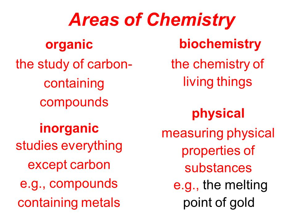 Areas of Chemistry organic biochemistry the study of carbon-