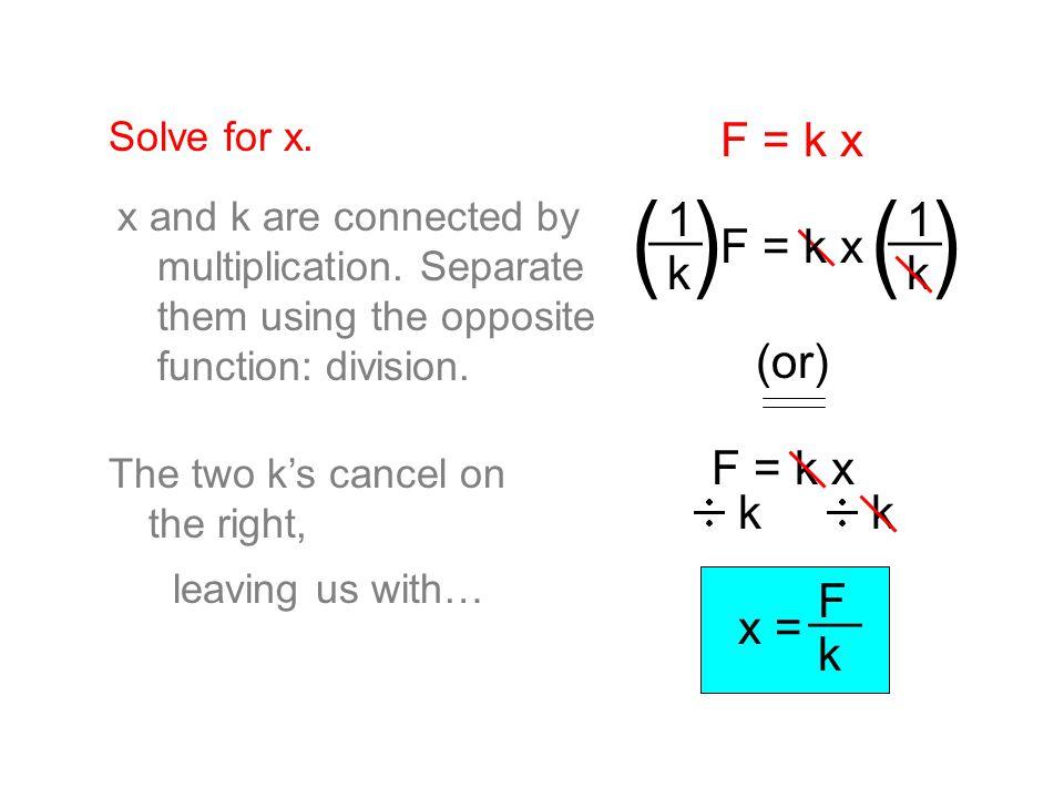 ( ) F = k x __ 1 k F = k x (or) F = k x k x = F k __ Solve for x.