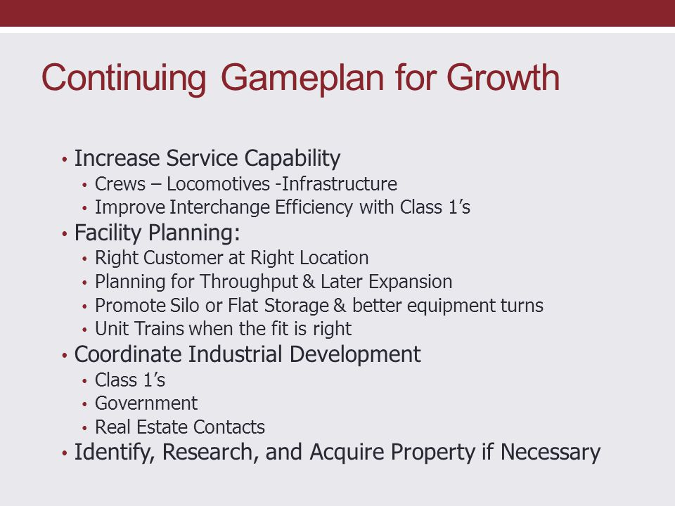 Continuing Gameplan for Growth
