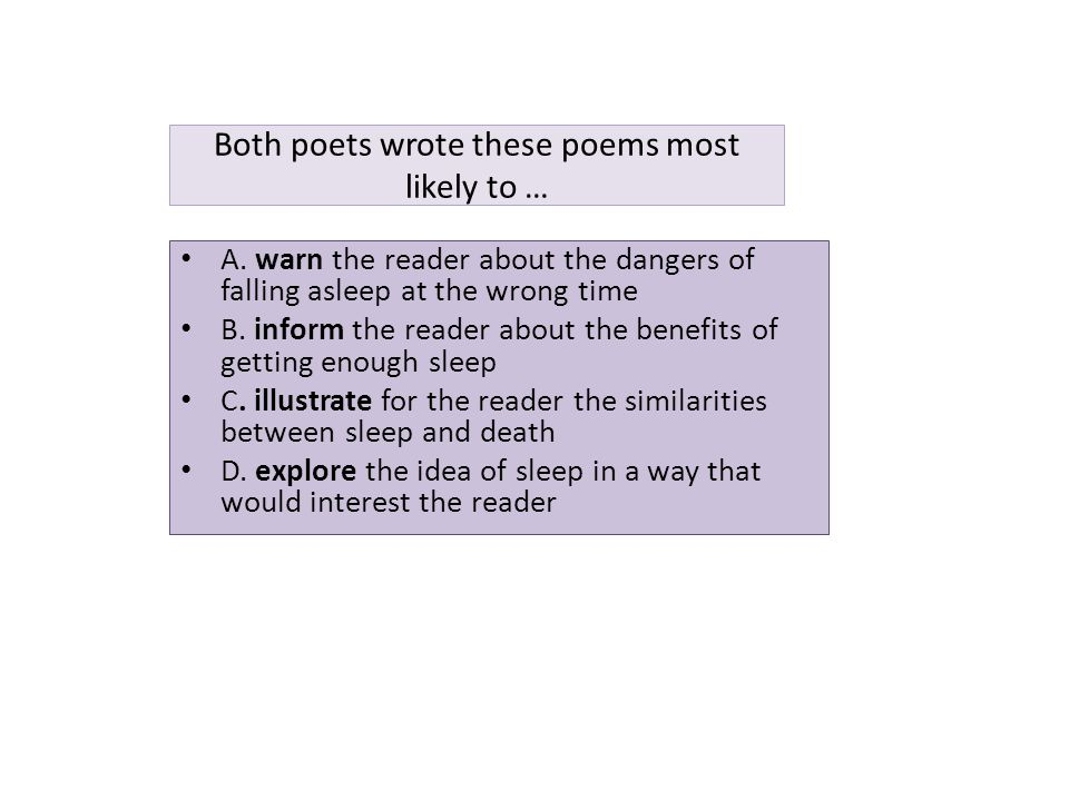 Both poets wrote these poems most likely to …