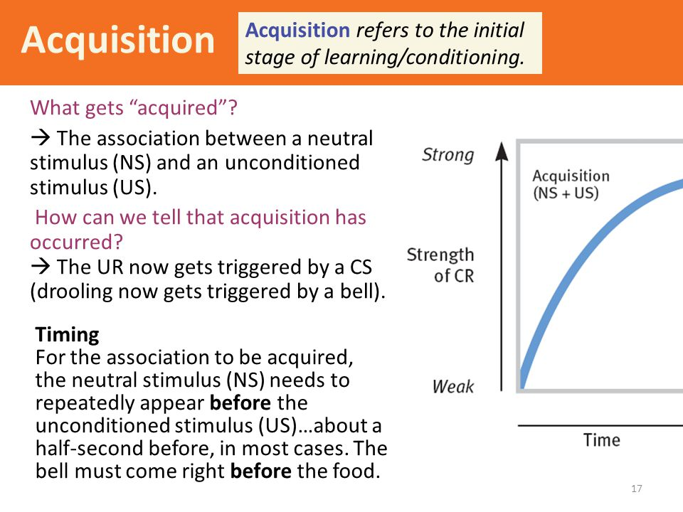 Acquisition Acquisition refers to the initial stage of learning/conditioning. What gets acquired
