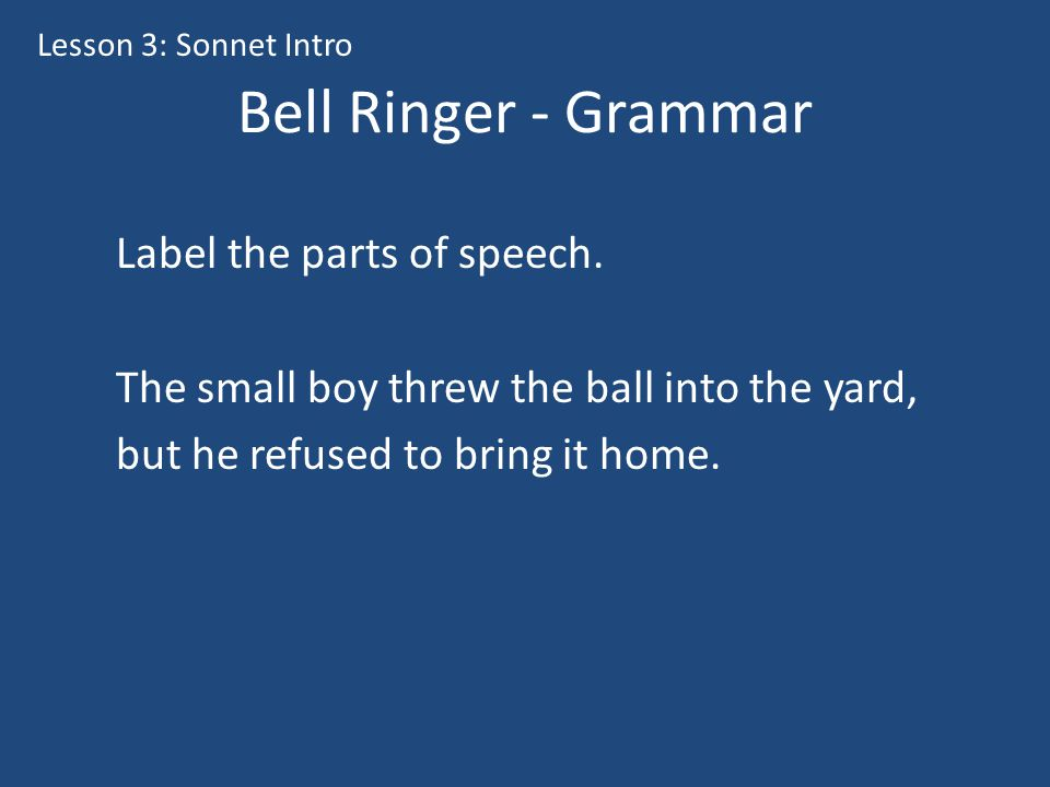 Bell Ringer - Grammar Label the parts of speech.