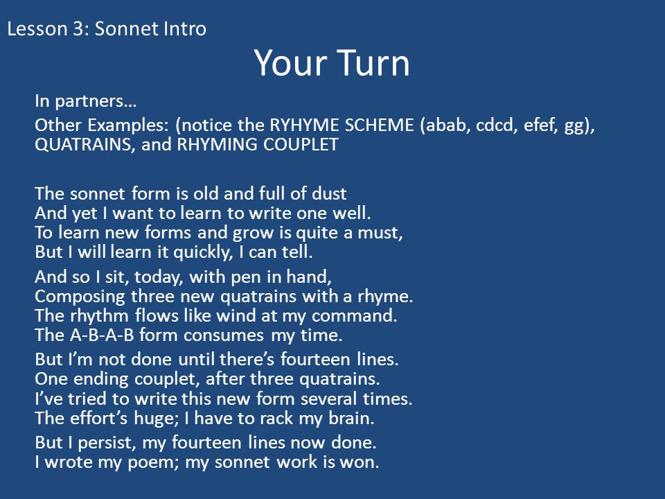 Your Turn Lesson 3: Sonnet Intro