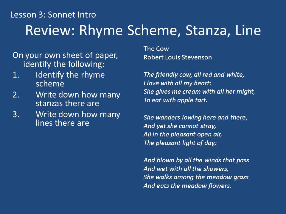 Review: Rhyme Scheme, Stanza, Line
