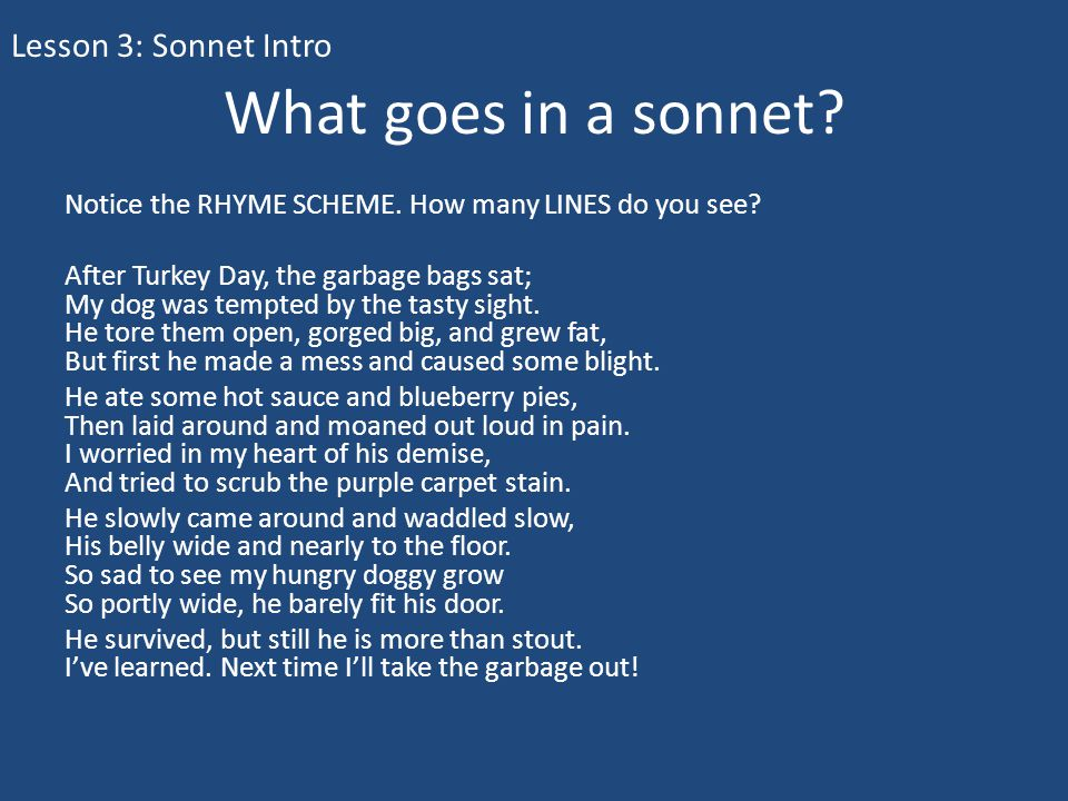What goes in a sonnet Lesson 3: Sonnet Intro