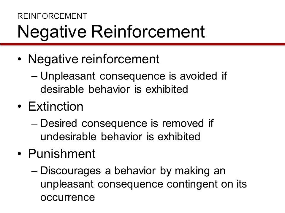 REINFORCEMENT Negative Reinforcement