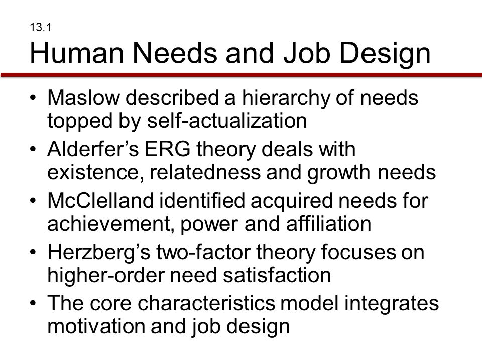 13.1 Human Needs and Job Design