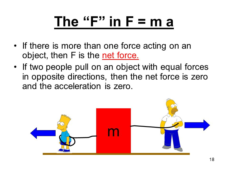 The F in F = m a If there is more than one force acting on an object, then F is the net force.