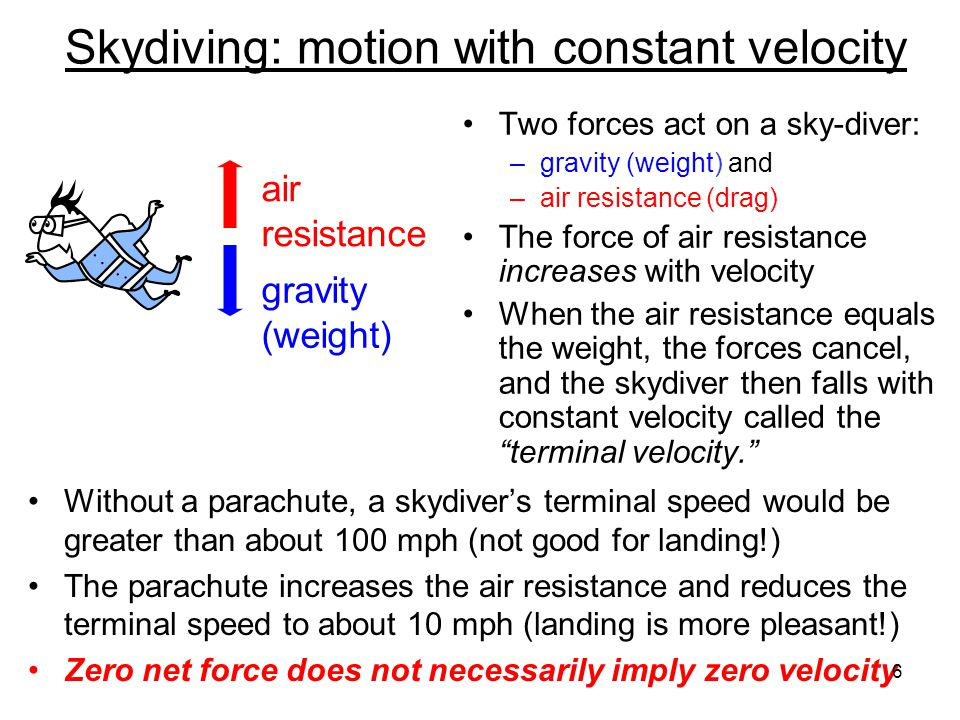 Skydiving: motion with constant velocity