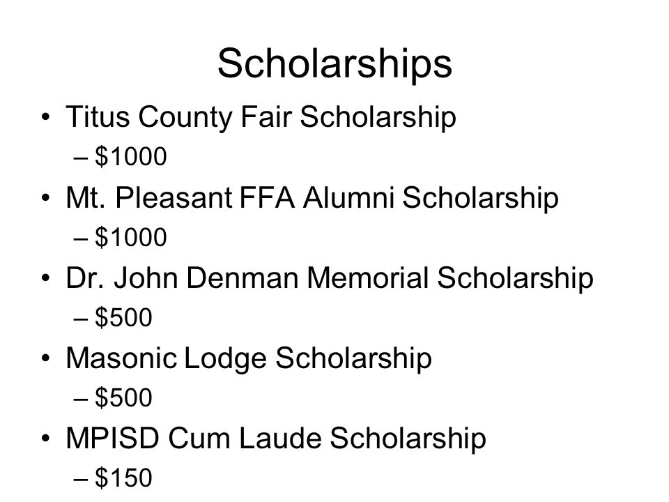Scholarships Titus County Fair Scholarship