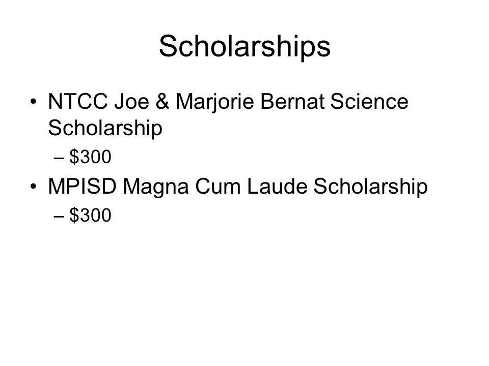 Scholarships NTCC Joe & Marjorie Bernat Science Scholarship