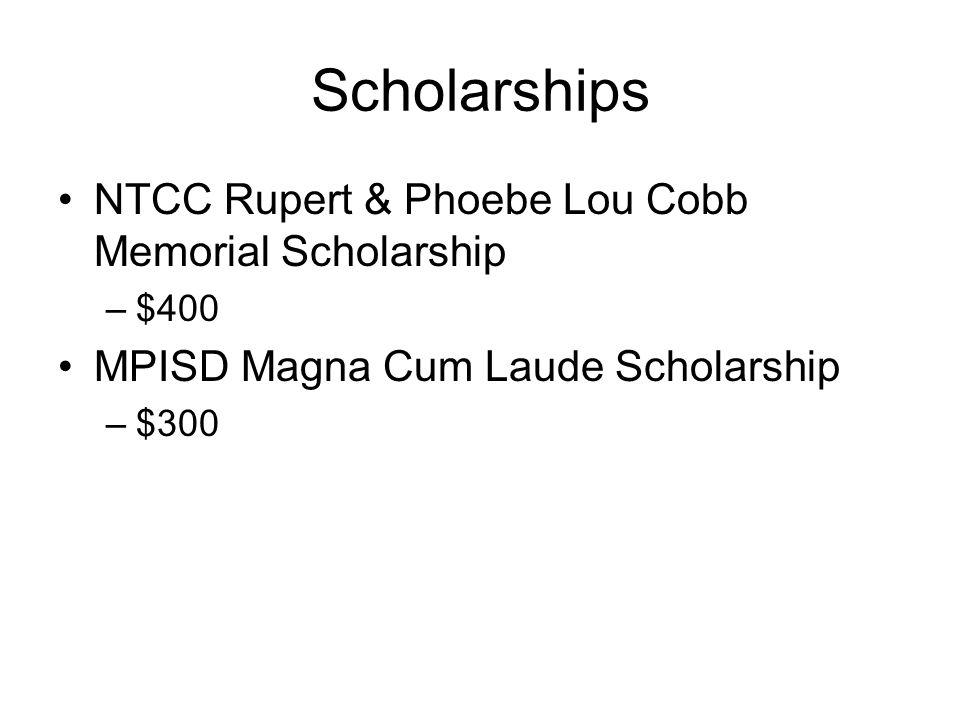 Scholarships NTCC Rupert & Phoebe Lou Cobb Memorial Scholarship