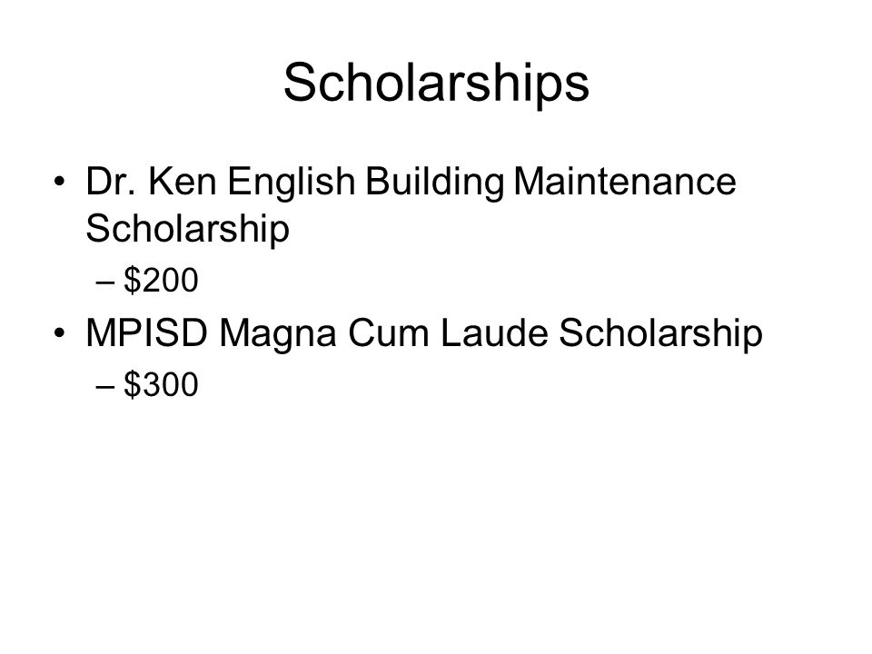 Scholarships Dr. Ken English Building Maintenance Scholarship