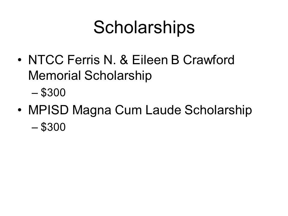 Scholarships NTCC Ferris N. & Eileen B Crawford Memorial Scholarship