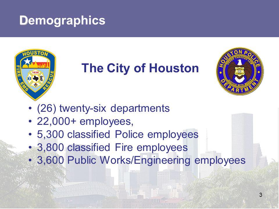 Demographics The City of Houston (26) twenty-six departments