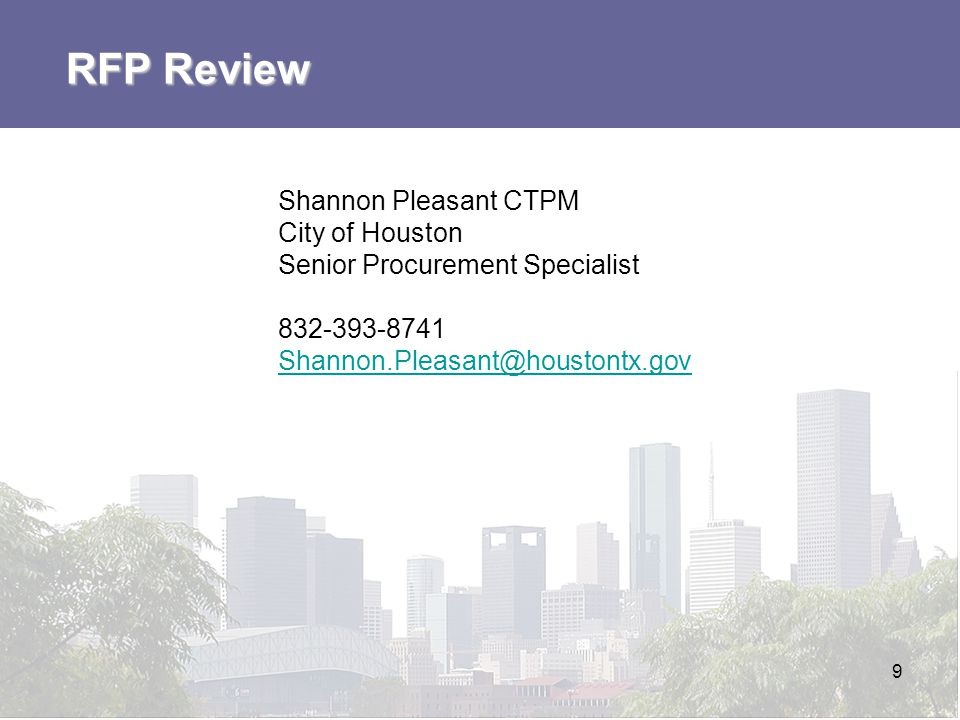 RFP Review Shannon Pleasant CTPM City of Houston