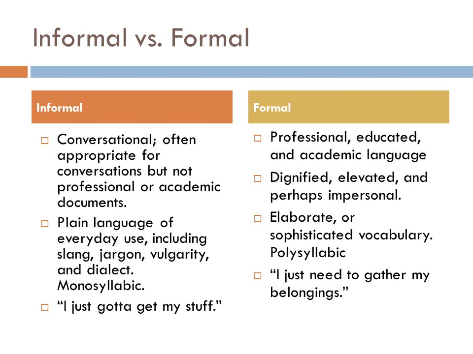 Informal vs. Formal Professional, educated, and academic language
