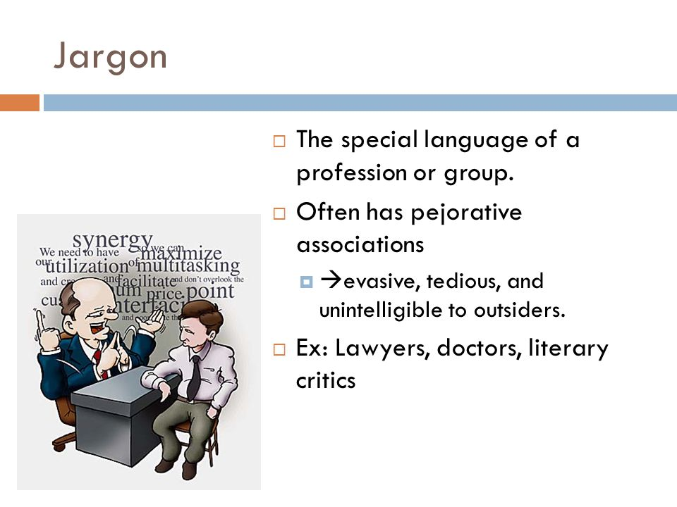 Jargon The special language of a profession or group.