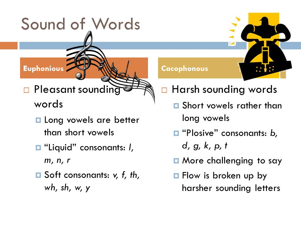 Sound of Words Pleasant sounding words Harsh sounding words