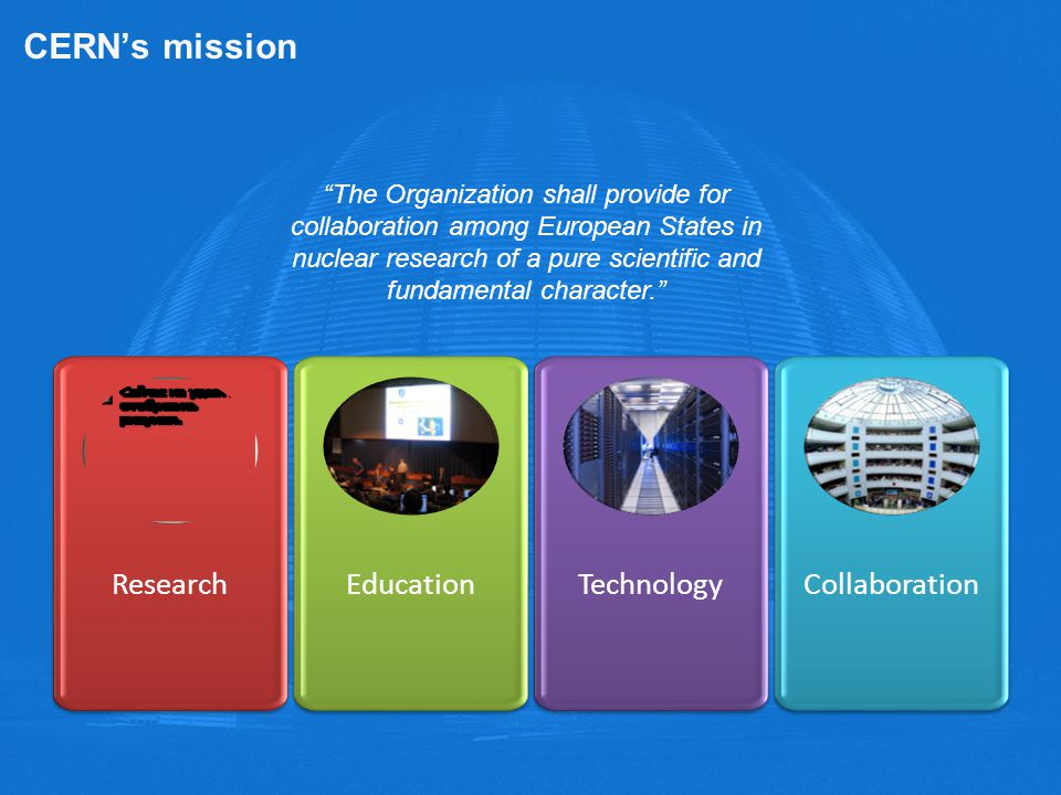 CERN's mission Research Education Technology Collaboration
