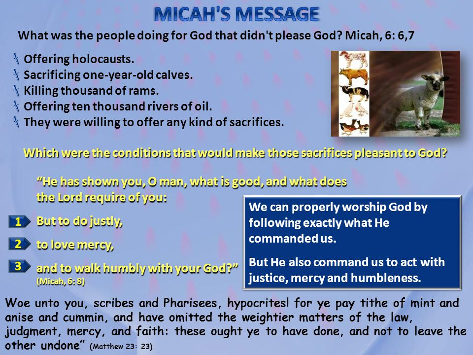 MICAH S MESSAGE What was the people doing for God that didn t please God Micah, 6: 6,7. Offering holocausts.